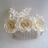 Bridal White Hair comb Piece  Wedding Hair Piece Veil Complement Piece Made to Order