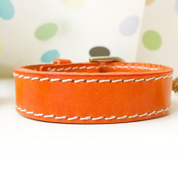 Simple Orange Leather Cuff With Buckle and Adjustable