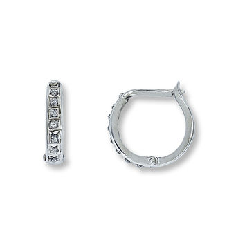 Diamond Hoop Earrings Diamond Accents 14K White Gold