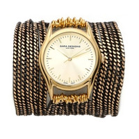 Sara Designs Black & Gold All Chain Wrap Watch