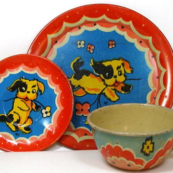 40's Tin Toy Tea Setting, Naughty Puppy, Cup & plates, 3 piece set.