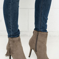 Uptown Living Taupe Suede Pointed Ankle Booties