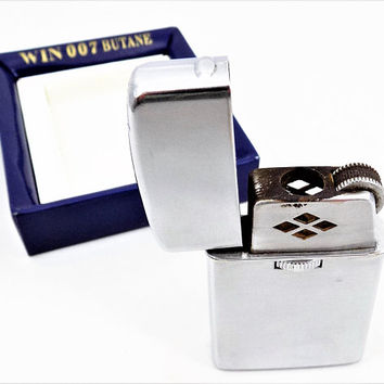 WIN 007 Cigarette Lighter, Silver tone, Butane Lighter, Made in Japan, Vintage Tobacciana
