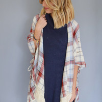 Fringe Plaid Cardigan
