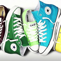 """Converse"" Fashion High tops Wine red Canvas Flats Sneakers Sport Shoes Green Light blue"
