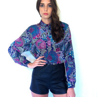 SALE 20% OFF Vintage Blouse. Multicolored Paisley Long Sleeve Pull Over Blouse FREE Shipping (Domestic us)