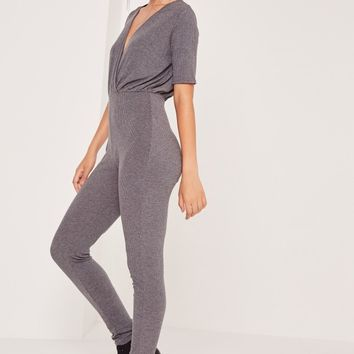 Missguided - Ribbed Wrap Short Sleeve Jumpsuit Grey
