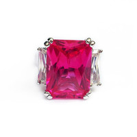 Hot Pink Radiant Cut Cubic Zirconia Large Cocktail Ring in Sterling Silver // hot pink jewelry, pink cz ring in silver, size 5, 6, 7, 8