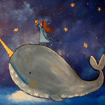 Narwhal Original Painting, Starry Night Sky, Kids Wall Art, Childrens Room Decor, Little Girls Room, Starkeeper Painting, Artwork for Baby