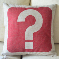 Question Mark Print Decorative Pillow [101] : Cozyhere