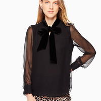 mixed velvet chiffon top | Kate Spade New York