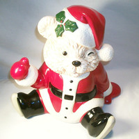 Santa Bear Ceramic Christmas Music Box Cookie Jar, Brenda Thomas 1990 , Holiday Home Decor, From TKSPRINGTHINGS Christmas Collection