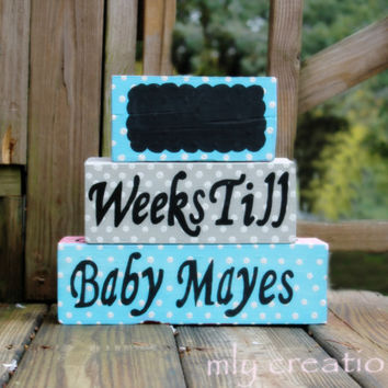 Baby Countdown blocks, Pregnancy Countdown, It's a boy,Countdown Blocks, Weeks Until We're Due. Maternity Blocks, Boy Blocks, Wooden Blocks