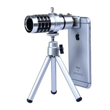 2017 12x Optical Zoom Telephoto Lens For Meizu Lenovo Nokia Sony Huawei LG Asus Phone Camera Lenses kit Telescope Clips Tripod