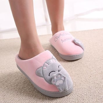 Non-slip Soft Winter Warm House Slippers Women Winter Home Slippers Cartoon Cat Shoes Indoor Bedroom Lovers Couples Floor Shoes