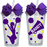 Personalized Cheerleader Tumbler with Straw