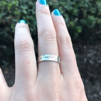 Hearts and Arrows Silver Ring - Ready to Ship - Size 8