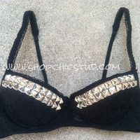Studded Bra 34C Bustier Top BLACK LACE Silver OR Gold Studs