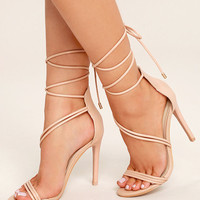 Ameerah Blush Lace-Up Heels