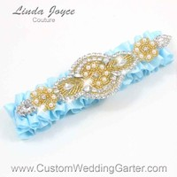 "Alice Blue and Gold Pearl Beaded Wedding Garter ""Charlotte 01"" Gold"