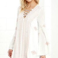 Celebration of Self Ivory Embroidered Lace-Up Shift Dress