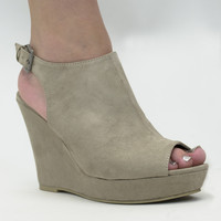 Tempting Taupe Micro Wedge Shoe
