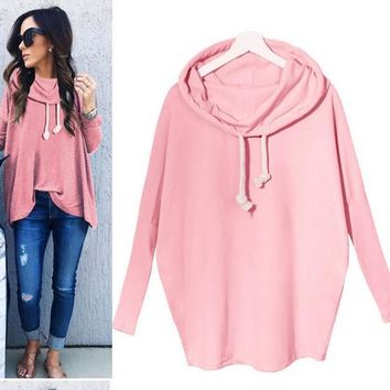 Womens Cosy Loose Long Sleeve Shirt Blouse +Gift Necklace
