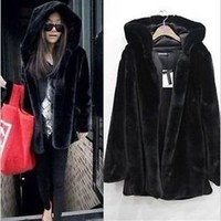 Fashion Women Winter Black Warm Faux Fur Long Sleeve Hooded Jacket Coat