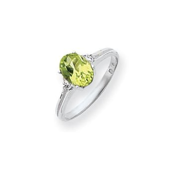 0.04 Ct  14k White Gold 8x6mm Oval Peridot Checker Diamond Ring SI2/SI3 Clarity and G/I Color