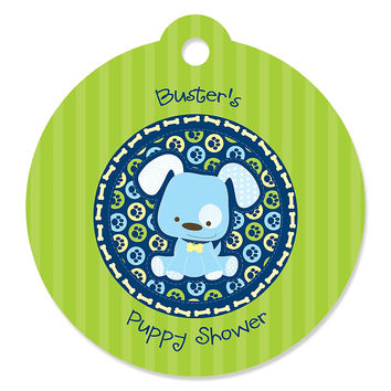 Boy Puppy Party - Personalized Puppy Shower Tags - 20 ct