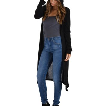 Lyss Loo Cover Me Up Long-line Black Hooded Cardigan