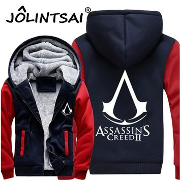 2017 Men Thick Warm Hooded Sweatshirts Assasins Creed Fleece Lined Coat Revolutionary Game Hoodies Hip Hop Men Jackets 4XL