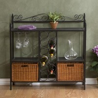 Kitchen Dining Baker's Rack with Wine Storage & Rattan Baskets