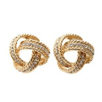 Twisted Rhinestone Knot Earrings by Charlotte Russe - Gold