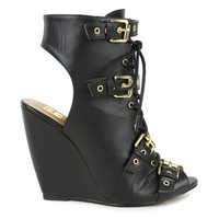 Fahrenheit Rashida-08 Lace-up wedge sandals in Black @ ippolitan.com