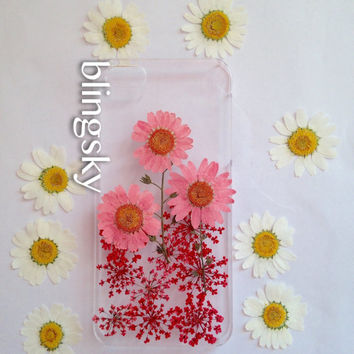 Handmade Real  Natural Pressed Flowers iphone 6 6 plus case iphone 4s 5 5s 5c case cover  samsung galaxy s5 note2 note3 case pink daisy