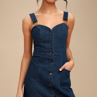 Luanne Dark Wash Button-Up Denim Overall Dress