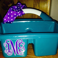 Personalized  Art Caddy & Shower Caddy. Perfect for Camp or College Dorm Room.  Monogram three Initials in two colors.