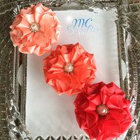 Set of 3 flowers applique,satin flower applique,scrapbooking,embellishment, card making, sewing, hair bows, gift wrapping,headbands,170