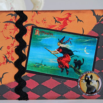 Orange and Red Halloween Card with Witch and Black Cat Riding on a Broom, Handmade Notecard, Vintage Image