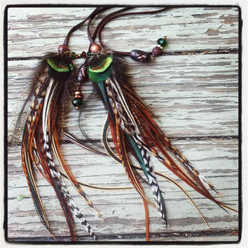 Peacock and rooster feather braided leather headband belt by Bdii
