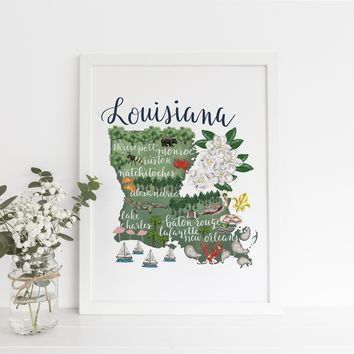Louisiana State Map Art Print
