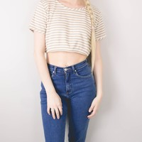 Vintage Neutral Striped Minimalist Cropped Blouse