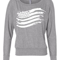 Fourth of July American Flag Women's Long Sleeve Slouchy