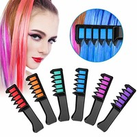 Hair Chalk Comb Shimmer Temporary Hair Color Cream, Non-Toxic Washable Hair Color Comb for Party Cosplay DIY, 6 Colors