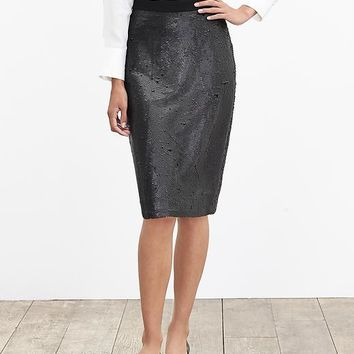 Banana Republic Womens Sequin Pencil Skirt