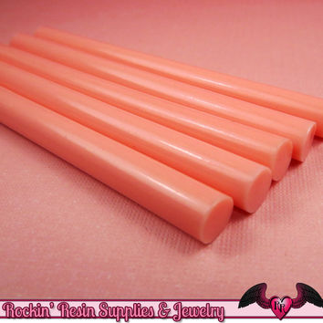 5 Melon PINK Mini Hot GLUE STICKS / Deco Sauce / Fake Icing / Nail Art Stick / Faux Wax Seals / Cellphone Decoden