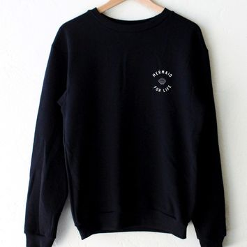 Mermaid For Life Oversized Sweatshirt - Black