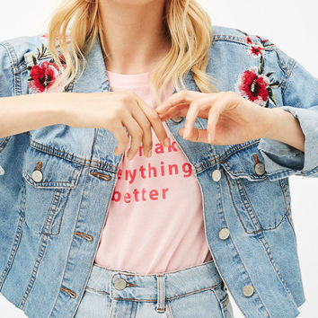 Denim overshirt with floral embroidery - Outerwear - Bershka United States