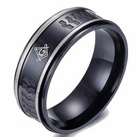 Navy Grey Bond Masonic Ring
